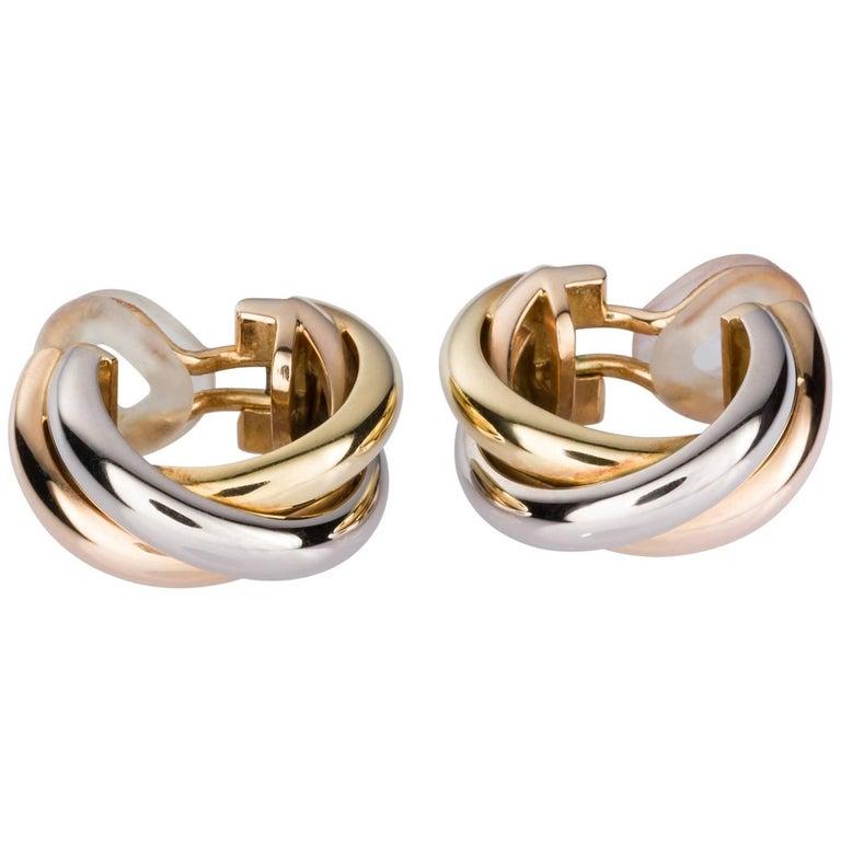 Cartier Trinity Tri-Tone 18 Karat Gold Earrings