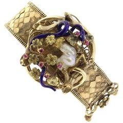 Rose Gold Pearl Rubies Bracelet