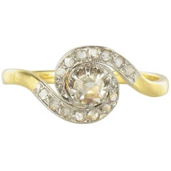 1920s French Belle Epoque Yellow Gold Antique Rose Cut Diamond Swirl Ring