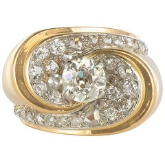 French 1940s Retro 1.50 Carat Diamond Platinum Yellow Gold Tank Ring