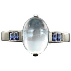 Baume Art Deco Style 2.30 Carat Moonstone Calibrated Sapphire White Gold Ring
