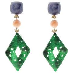 Rose Gold, Kyanite, Coral, Malachite Dangle Earrings