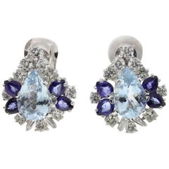 White Gold, Diamonds, Aquamarine and Blue Sapphire Clip-On Earrings