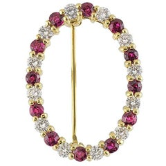 Tiffany & Co. Yellow Gold Diamond and Ruby Brooch