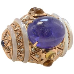 Rose Gold, Diamonds, Tanzanite, Sapphire, Mother-of-Pearl and Topazes Ring