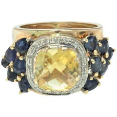 Luise Rose Gold, Diamonds, Topaz and Blue Sapphire Ring