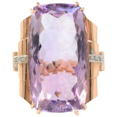 Rose Gold, Diamonds and Amethyst Ring