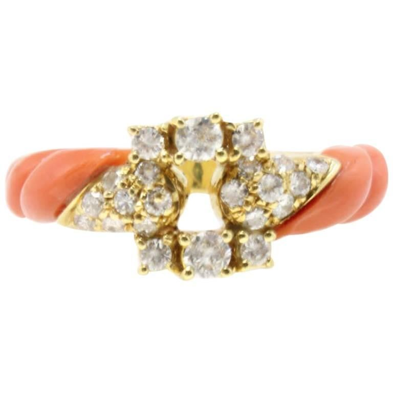 Yellow Gold Diamonds and Coral Ring