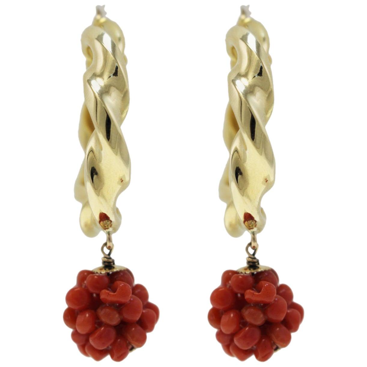 Red Coral, 18K Yellow Gold Hoop Earrings