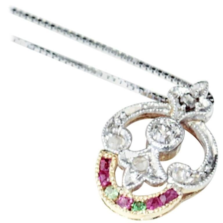 Art Deco Antique Ruby and Peridot Necklace with old European cut Diamond