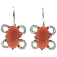 White Gold Diamonds and Coral Dangle Earrings