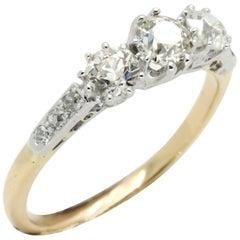 Art Deco Three-Diamond Engagement or Cocktail Ring