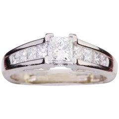 Vintage Princess Cut Diamond Platinum Engagement Ring