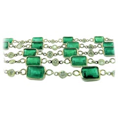 Emerald and Diamond Opera Length Necklace / Four Rows Bracelet