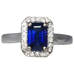 Ceylon Sapphire and Diamond 1.00 Carat Emerald Cut Cluster 18 Karat Gold Ring