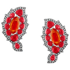 Bella Campbell/Campbellian Collection Magical Opal Ruby and Diamond Earrings