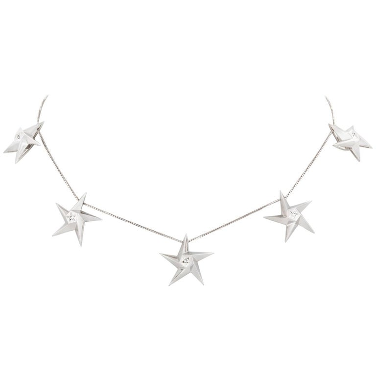 Daou Five Star Diamond and White Gold Necklace Choker