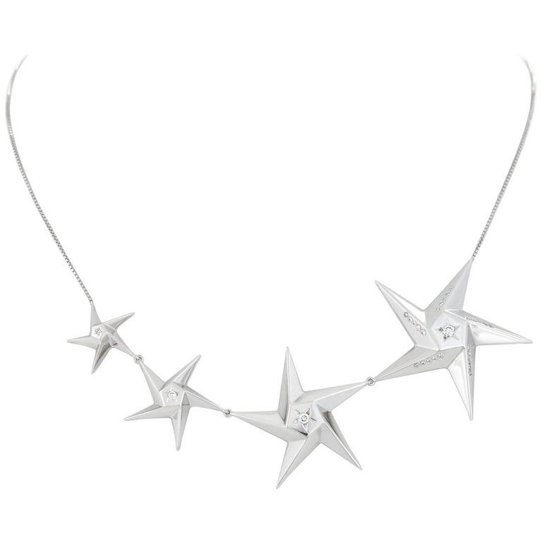 Daou Starlight Diamonds and White Gold Necklace of Graduated Stars