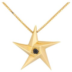 Daou Black Diamond and Yellow Gold Star Pendant Necklace