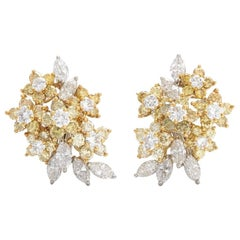 Stunning Pair of White and Yellow 3.50 Carat VVS Diamond Cluster Clip Earrings