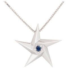 Daou Sapphire and White Gold Star Pendant Necklace