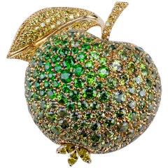 18 Carat Yellow Gold Demantoide Garnet and Yellow Diamond Apple Brooch