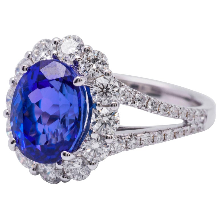 Oval Tanzanite and Diamonds Halo Cocktail Engagement Ring 4.85 Carat
