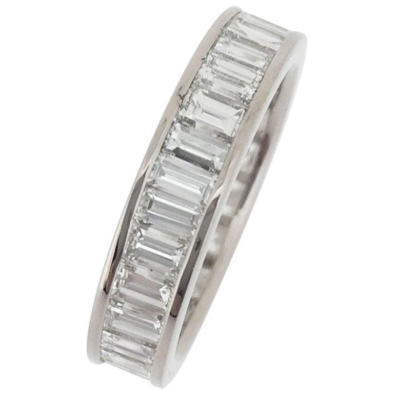Engagement Diamond Eternity Wedding Band Ring Gold Baguette Art Deco