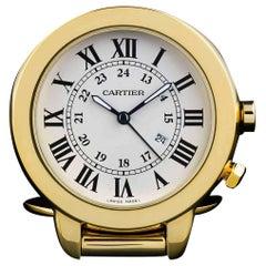 Cartier Gold-Plated Ronde Solo Quartz Travel Alarm Clock W0100067