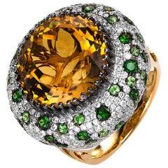 Carlos Udozzo Unisex 18 Karat Gold Vivid Green Tsavorite Yellow Citrine Ring