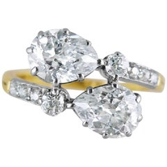 Tiffany & Co. Antique Pear Shaped Diamond Crossover Ring