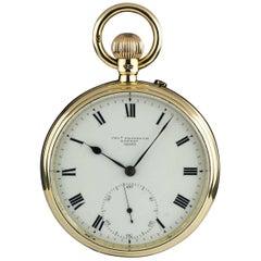 Charles Frodsham yellow Gold Cream Enamel Roman Dial Open Face Pocket Watch