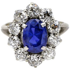CGL Certified 3.79 Carat Natural Sapphire Diamond Engagement Ring