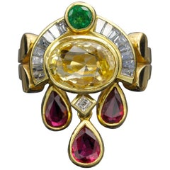 Yellow Sapphire Ruby Diamond Gold Ring