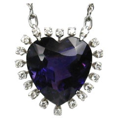 Amethyst Diamond Platinum Heart Necklace