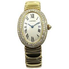Cartier ladies Yellow Gold Diamond Baignoire quartz Wristwatch