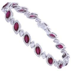 6.19 Carat Marquise Ruby Diamond 18 Karat Gold Bracelet