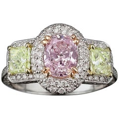 Pinkish Purple Yellowish Green Diamond Ring