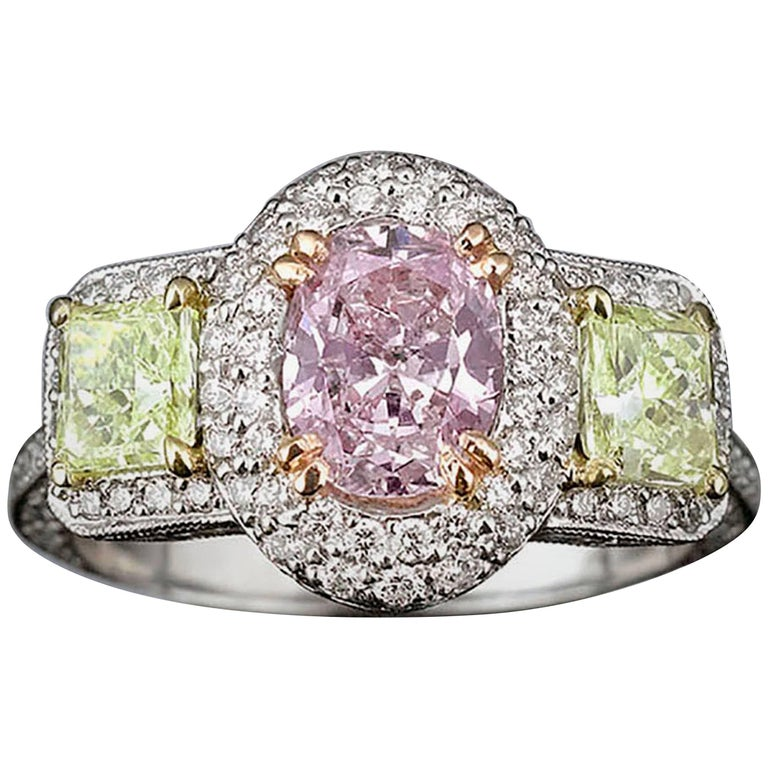 Pinkish Purple Yellowish Green Diamond Ring For Sale