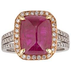 6.31 Carat Burma Cabochon Ruby Ring
