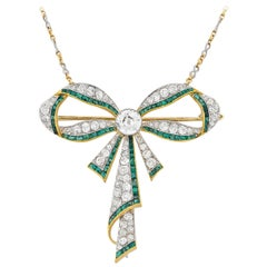 Edwardian Emerald and Diamond Bow Necklace