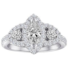White Diamond Marquis Three-Stone Diamond Halo Bridal Gold Ring