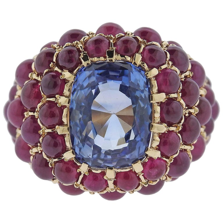 Verdura Sapphire Ruby Gold Ring For Sale