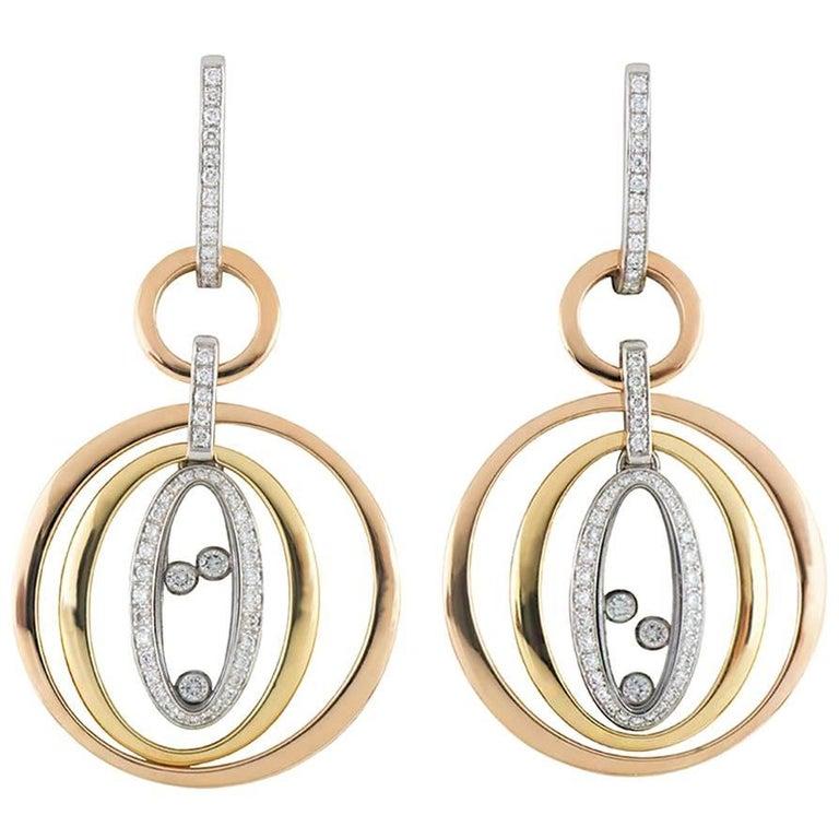 Chopard Tri-Color Happy Diamonds Earrings