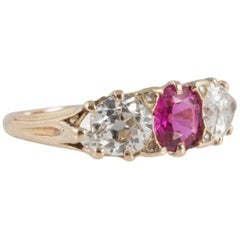 Victorian Three-Stone Ruby Diamond Carved Gold Ring