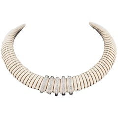 Modern French Enamel and Diamond Necklace