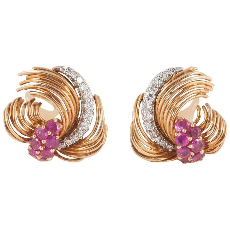 Kutchimsky Ruby Diamond Gold Clip-On Earrings For Sale