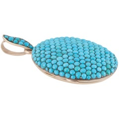 Victorian Pave Turquoise Oval Locket