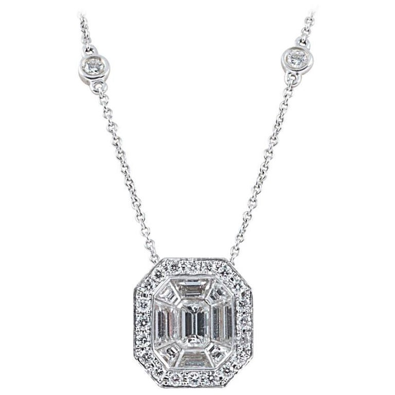 Diamond Pendant Suspended from a Diamond Chain For Sale