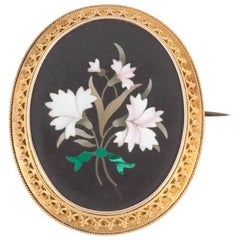 Victorian Etruscan Revival Micro-Mosaic Floral Brooch